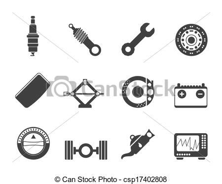 Silhouette realistic car parts and services icons - vector