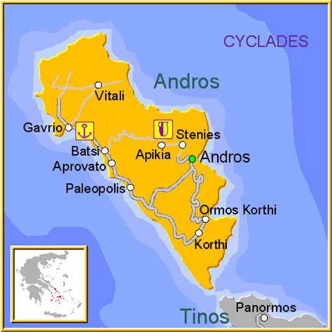 Map of Andros island