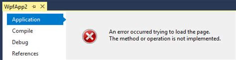 wpf - Error when trying to view the Application Properties