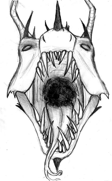 Evil Faces Tattoo Outlines For - demon face drawings