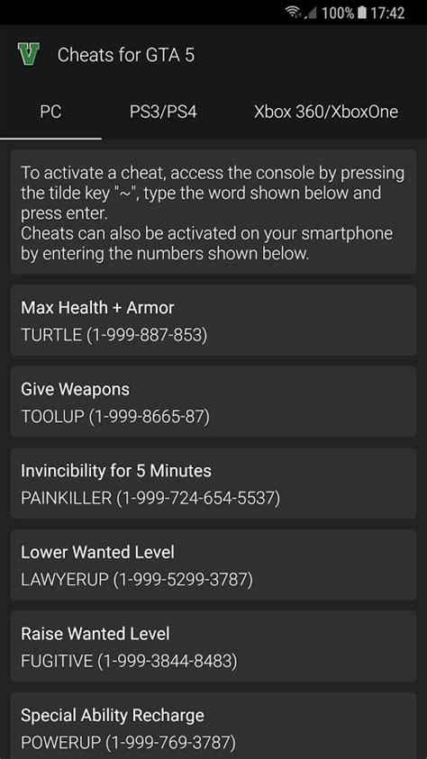 Cheats for GTA 5 for Android - Free download and software