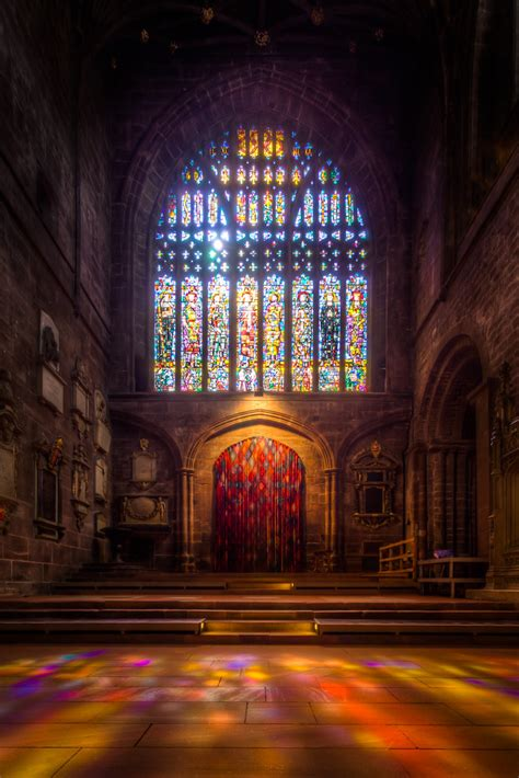 Stained Glass Window in Chester Cathedral (9x exposure HDR