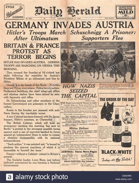 1938 Daily Herald front page reporting German troops enter