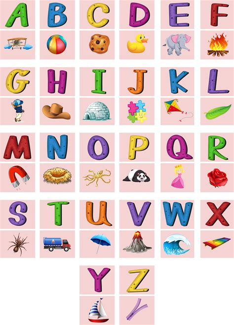 English alphabets A to Z with pictures - Download Free